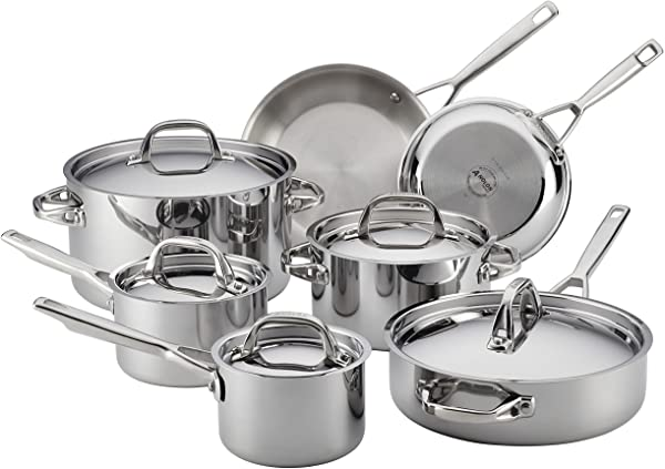 Anolon 30822 Triply Clad Stainless Steel Cookware Pots and Pans Set