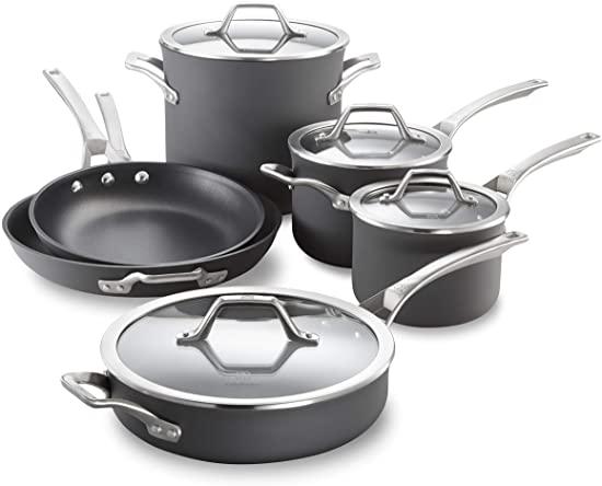 Calphalon Signature Hard-Anodized Nonstick Pots and Pans, 10-Piece Cookware Set