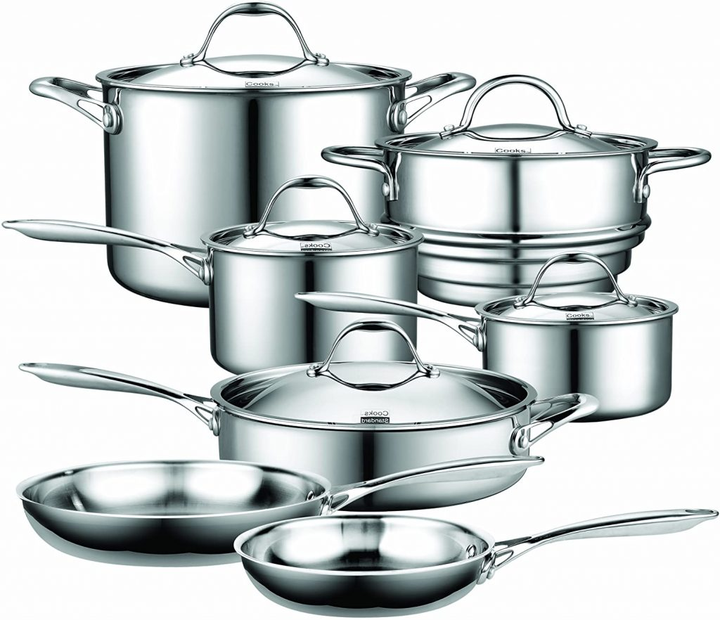 Cooks Standard Stainless Steel 12-Piece Multi-Ply Clad Cookware Set